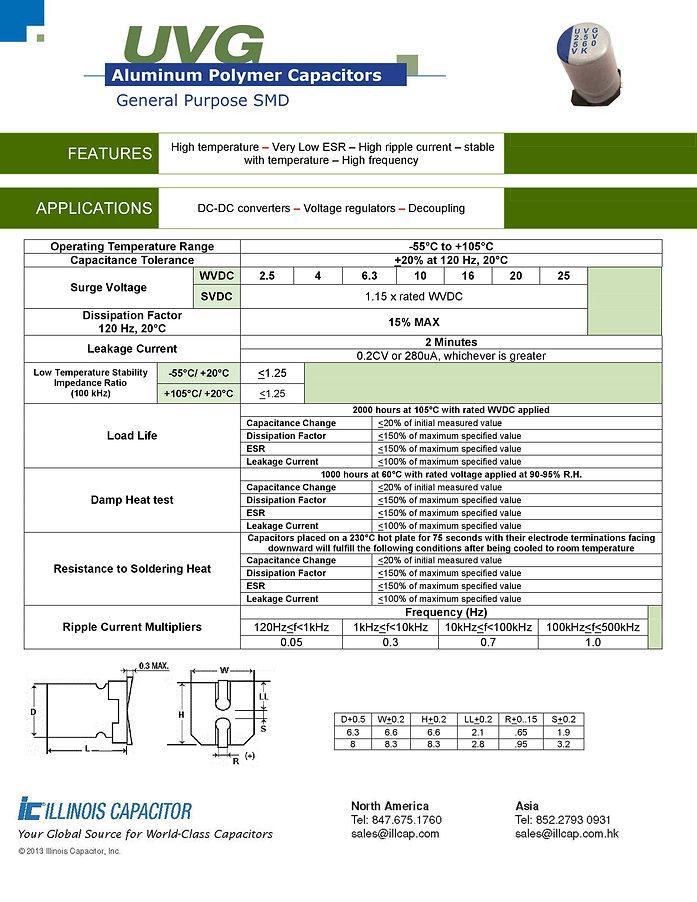 Illinois Capacitor UVG Series Aluminum Polymer Capacitors