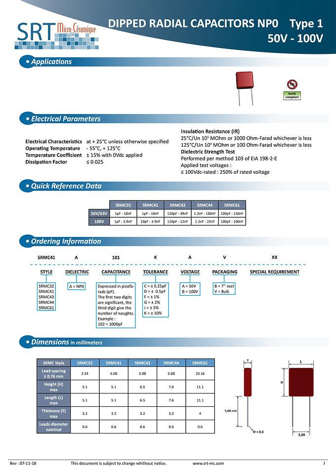 SRT Microceramique Dipped Radial NPO 50V-100V MLC capacitors