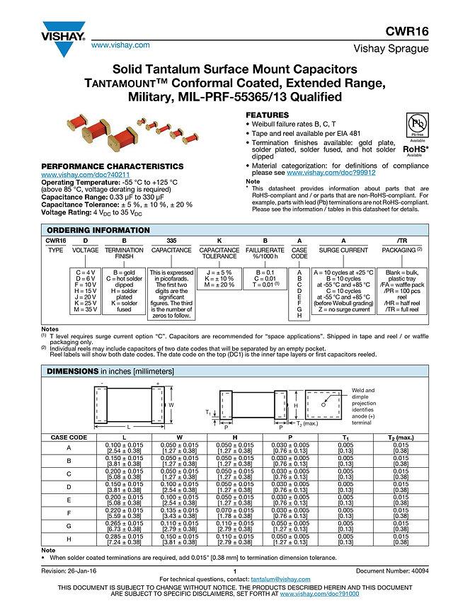 Vishay CWR16 Series Tantalum Capacitors