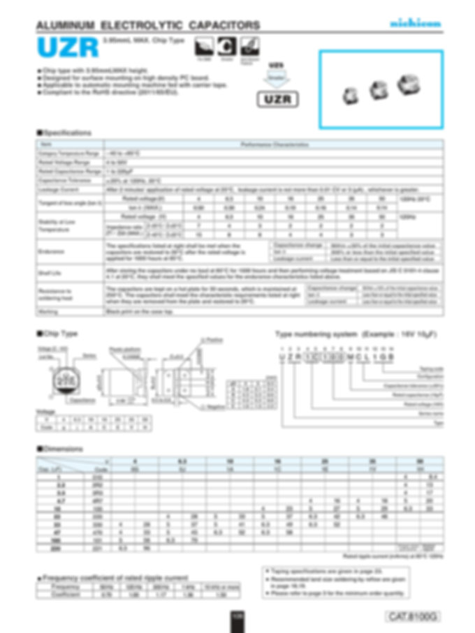 Nichicon UZR Series Aluminum Electrolytic Capacitors