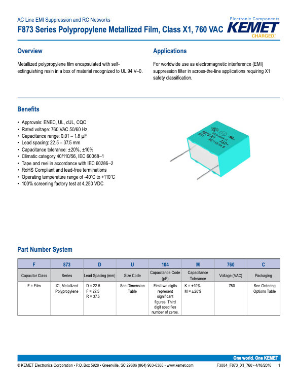 KEMET F873 Series Plastic Film Capacitors