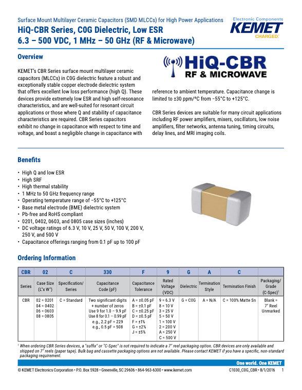 KEMET Hi-Q CBR MLC Capacitors