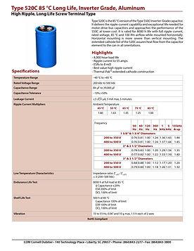 CDE Type 520C Aluminum Electrolytic Capacitors