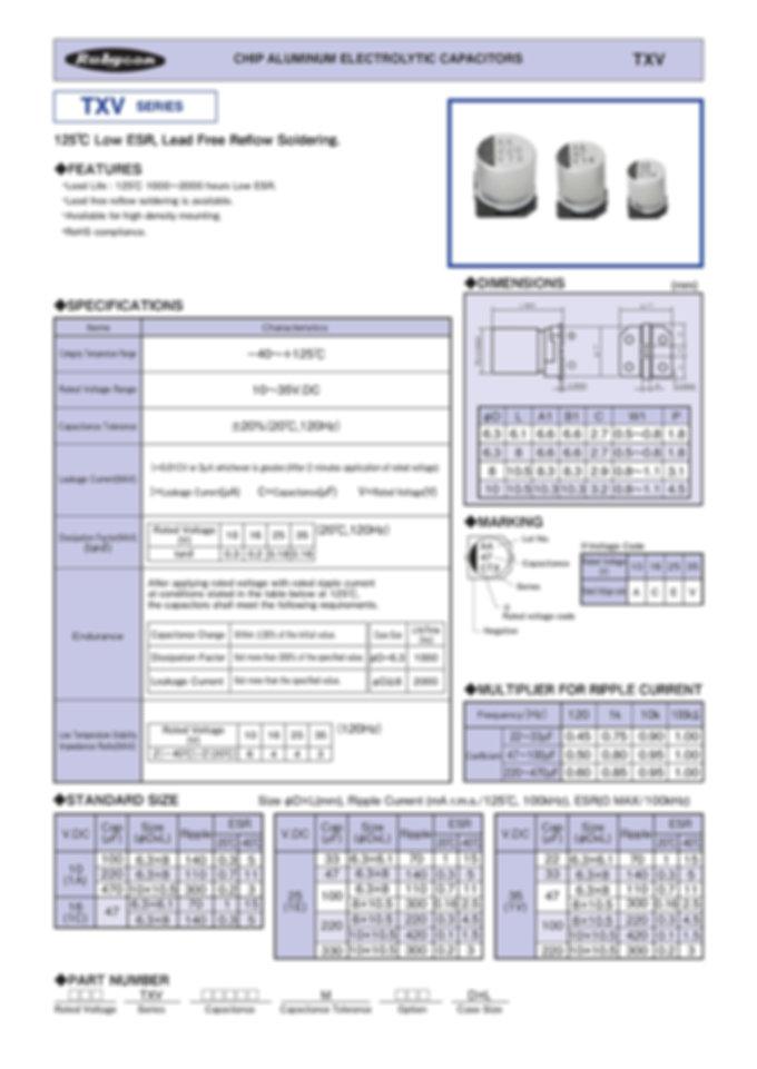Rubycon TXV Series SMT Aluminum Electrolytic Capacitors