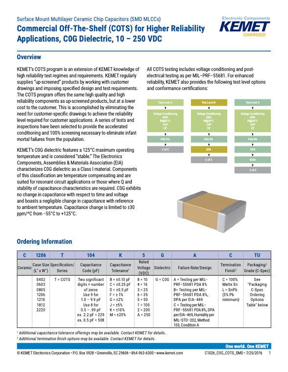 KEMET COG COTS Grade MLC Capacitors