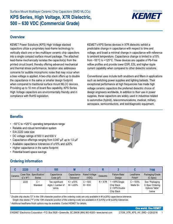 KEMET KPS High Voltage Series MLC Capacitors