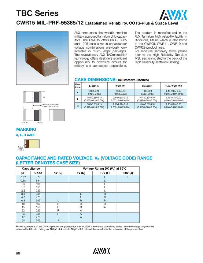 AVX TBC CWR15 Series Tantalum Capacitors
