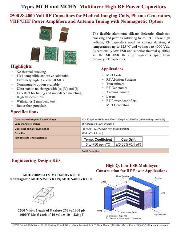 CDE Type MCH(N) Multilayer Mica Chip Capacitors