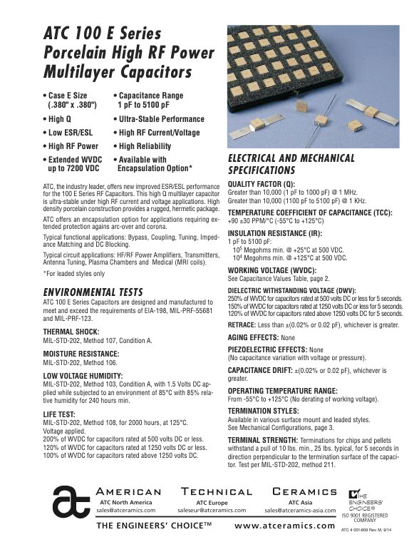 ATC 100E Series Porcelain Chip Capacitors