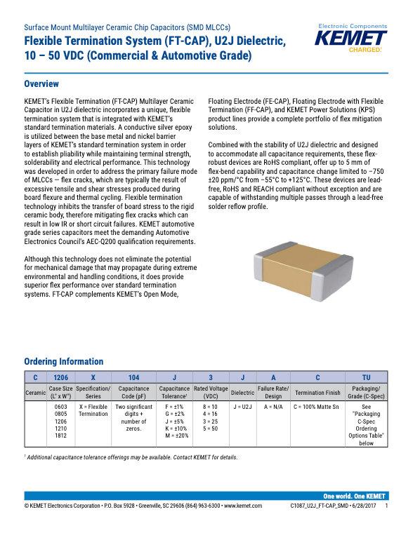 KEMET U2J FT-CAP Series MLC Capacitors