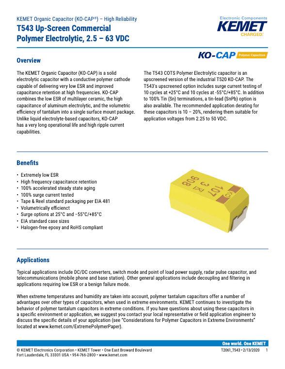 KEMET T543 Series Tantalum Polymer Capacitors