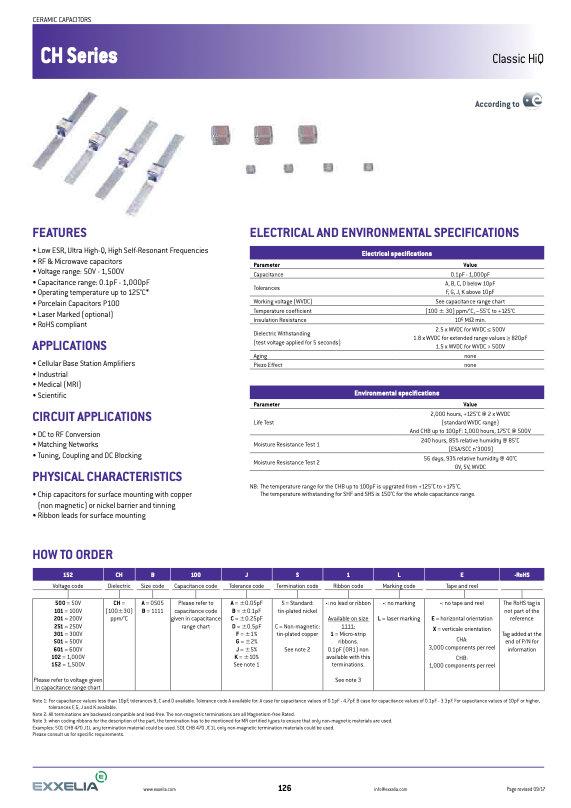 Exxelia CH Series MLC Capacitors