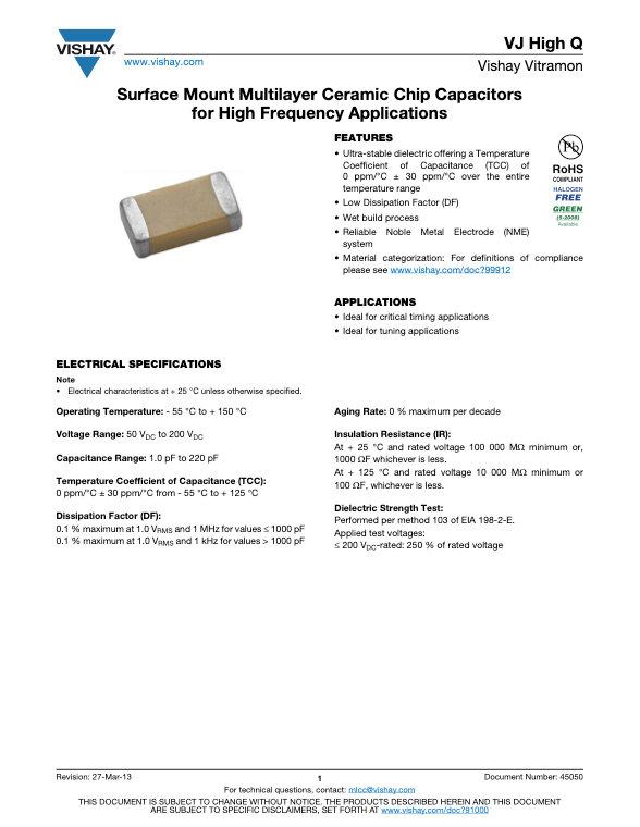 Vishay VJ High Q Series MLC Capacitors