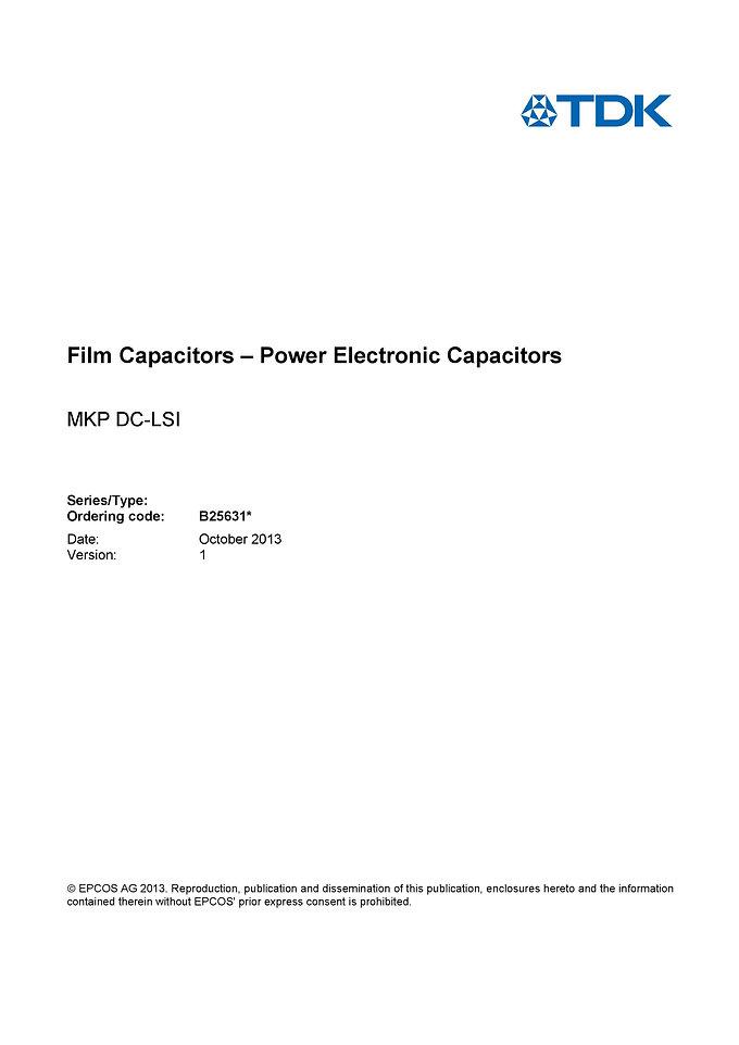 Epcos B25631 Series DC Link Capacitors