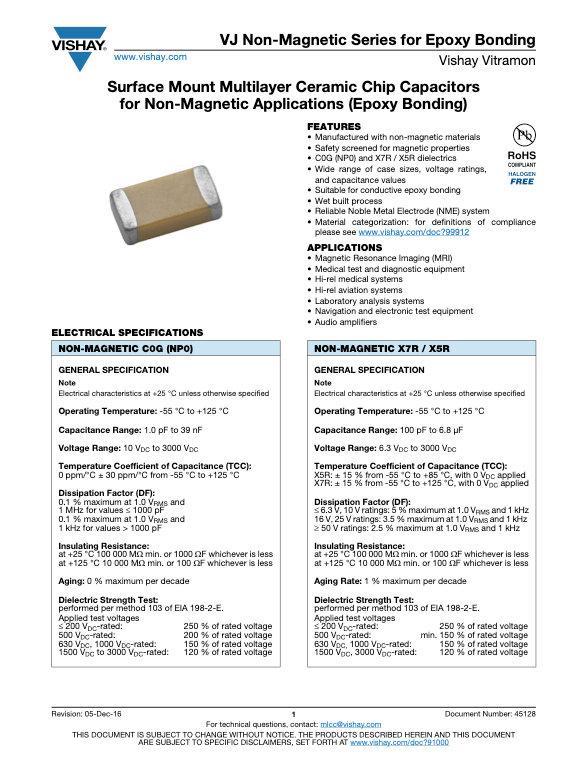 Vishay VJ Non Magnetic Epoxy Series MLC Capacitors