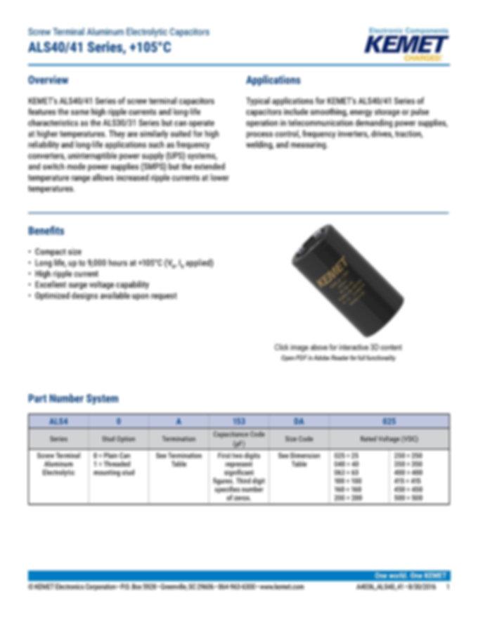 KEMET ALS40/41 Series Aluminum Electrolytic Capacitors