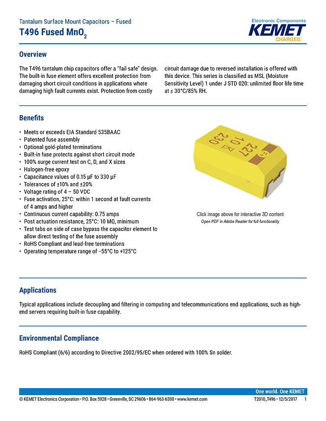 KEMET T496 Series Tantalum Capacitors