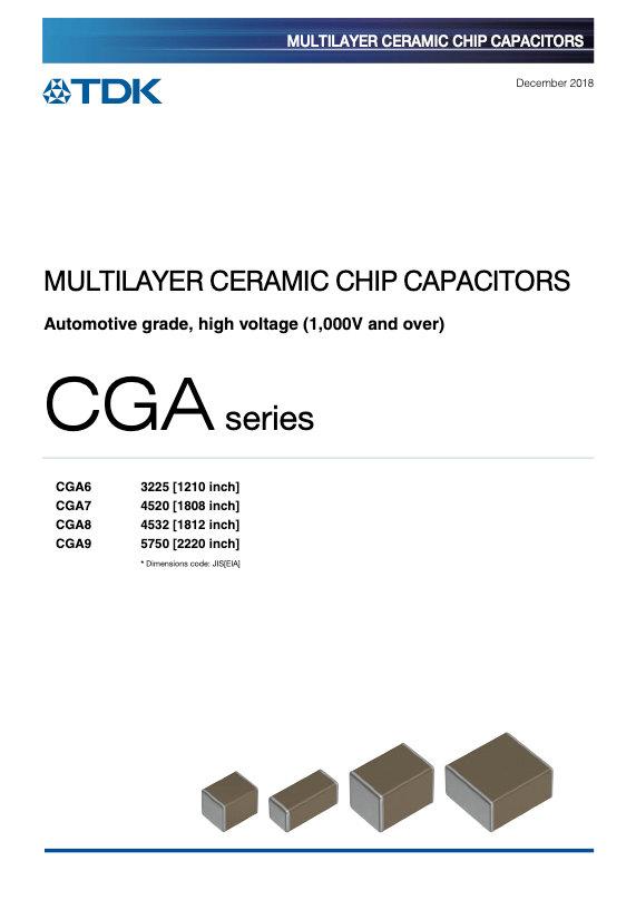 TDK CGA Series High Voltage MLC Chip Capacitors