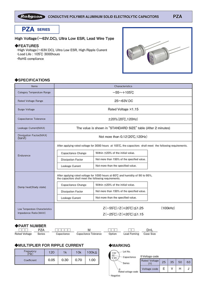 Rubycon PZA Series Radial Leaded Aluminum Polymer Capacitors