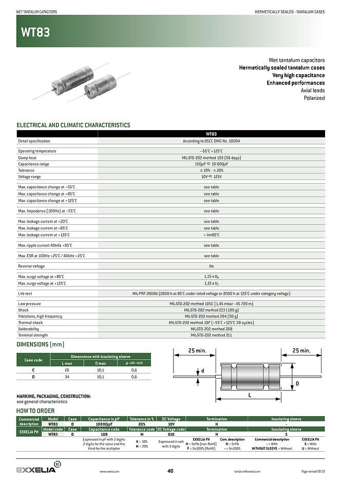 Exxelia WT83 Series Wet Tantalum Capacitors