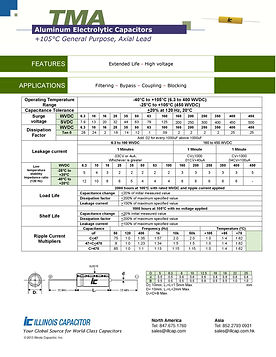 Illinois Capacitor TMA Series Axial Aluminum Electrolytic Capacitors