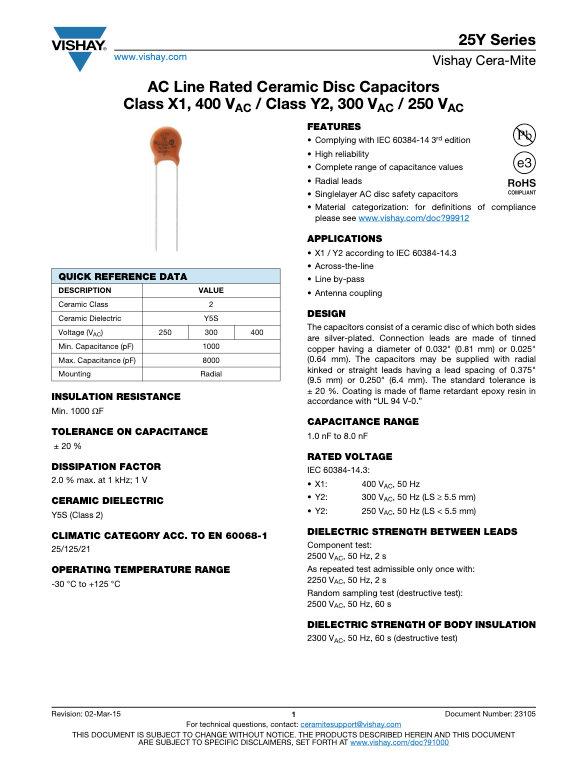 Vishay 25Y Series Ceramic Disc Capacitors