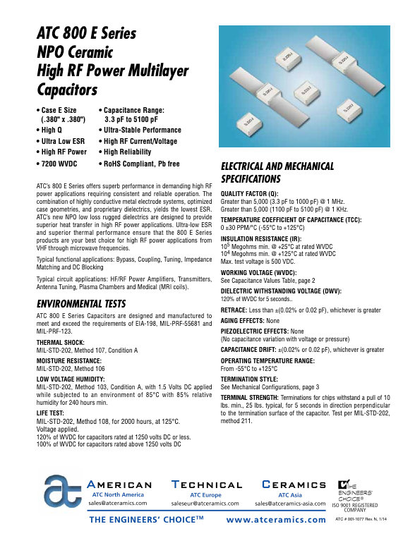 ATC 800E Series High RF Power Chip Capacitors
