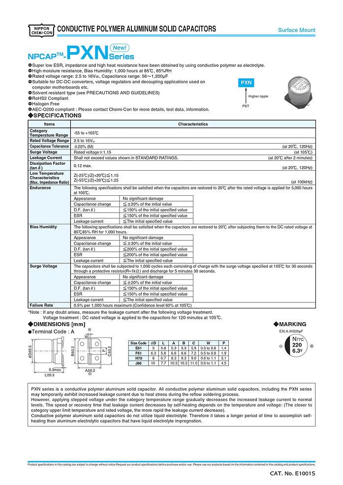 Nippon Chemi Con PXN Series Aluminum Capacitors