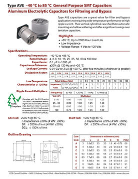 CDE Type AVE Aluminum Electrolytic Capacitors