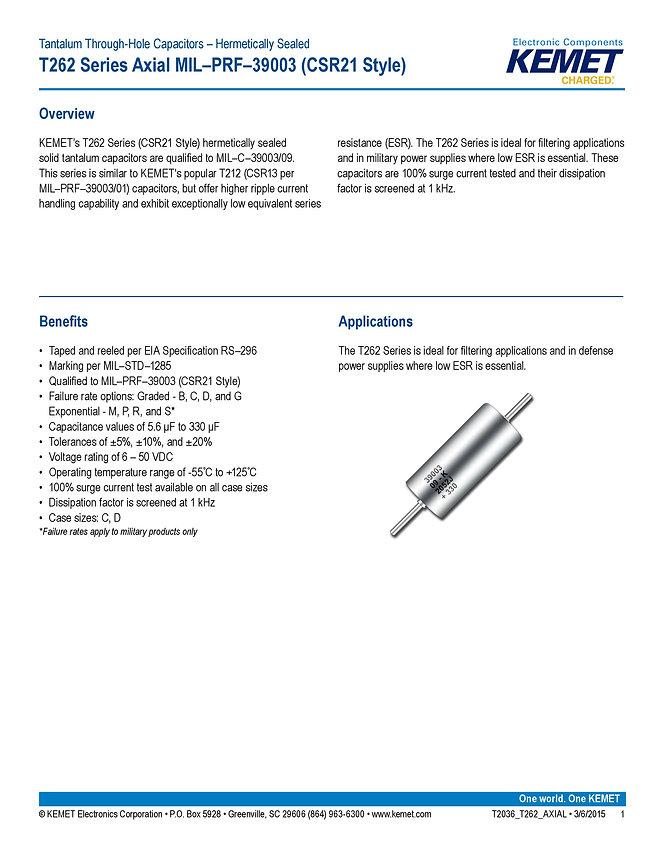 KEMET T262 Series Tantalum Capacitors