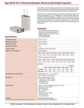 CDE Type MLSH Aluminum Electrolytic Capacitors