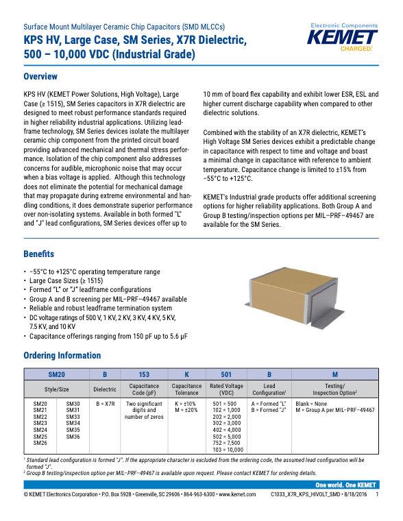 KEMET KPS HV SM Series X7R MLC Capacitors