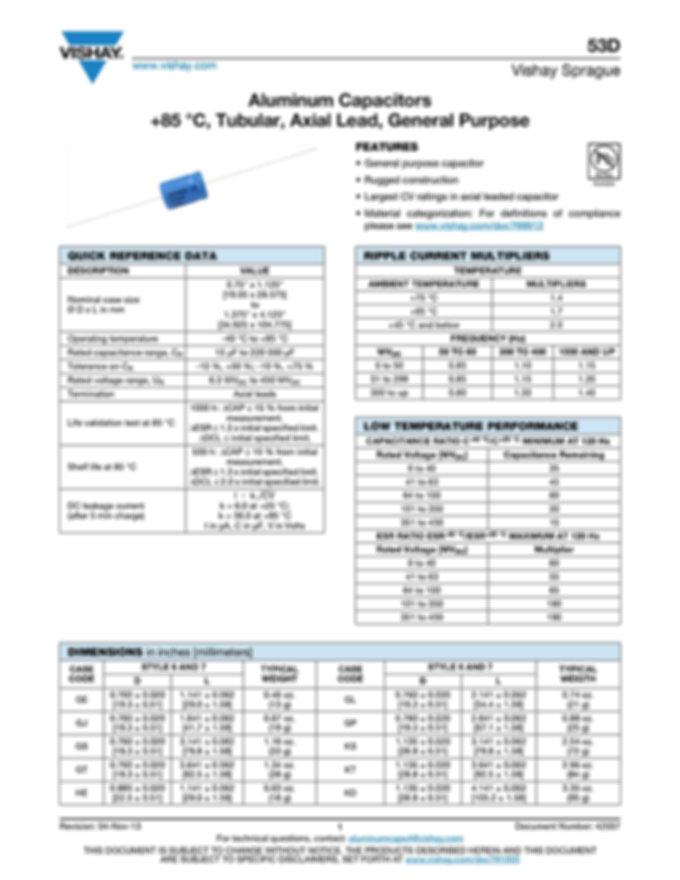 Vishay 53D Series Axial Aluminum Electrolytic Capacitors