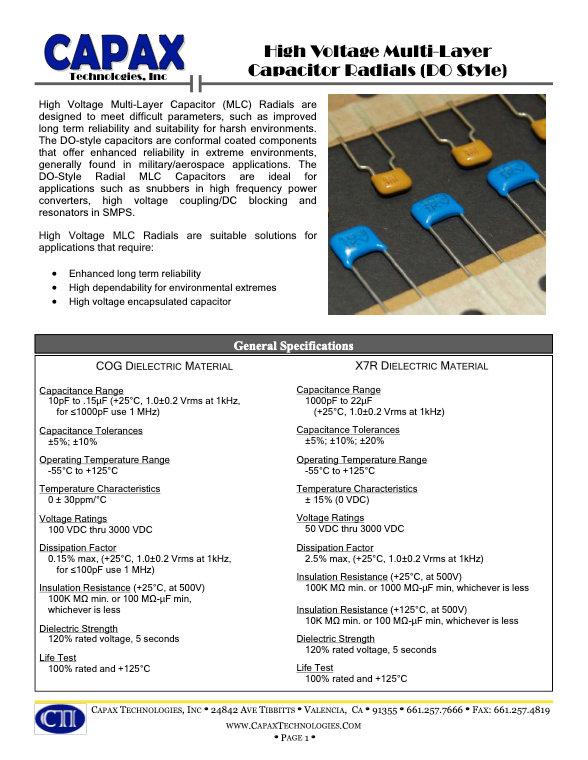 Capax Radial Leaded Multilayer Ceramic Capacitors