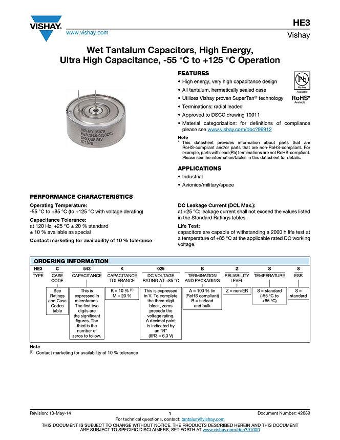 Vishay HE3 Series Wet Tantalum Capacitors