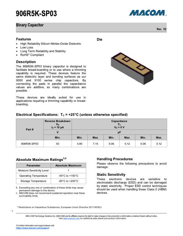 Macom 906R5K Series