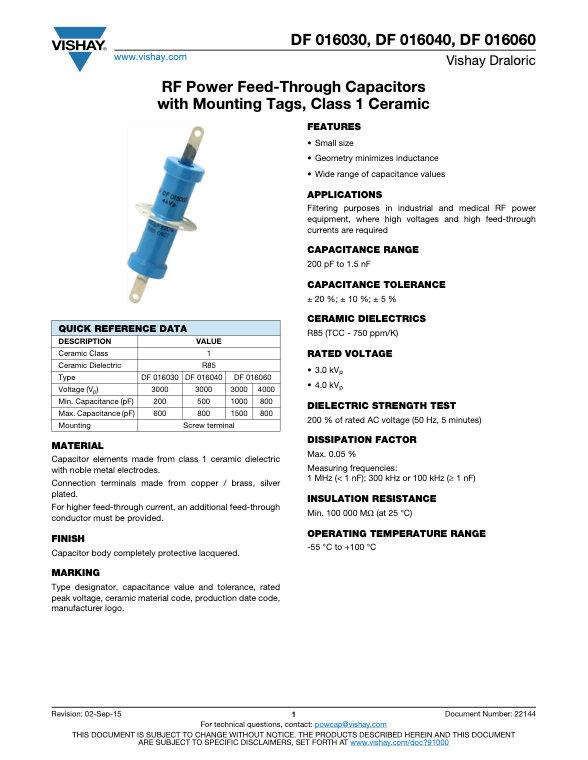 Vishay DB 016... Series RF Ceramic Capacitors