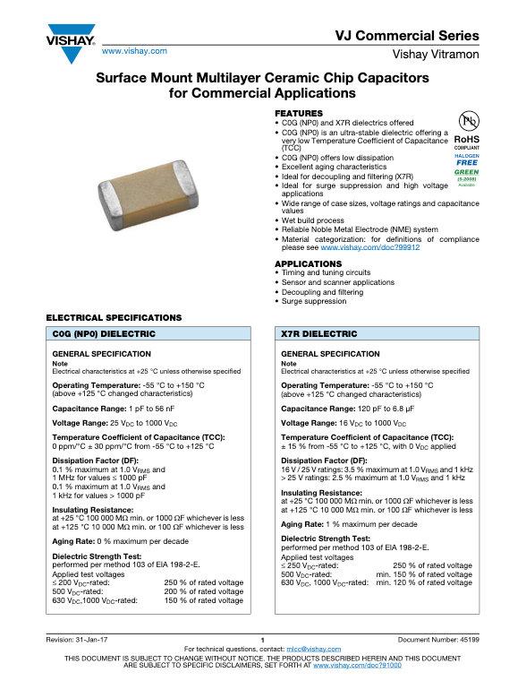 Vishay VJ Commercial Series MLC Capacitors