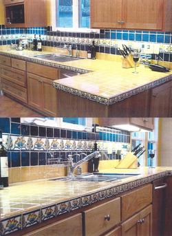 Custom Blue Tile Kitchen: AFTER