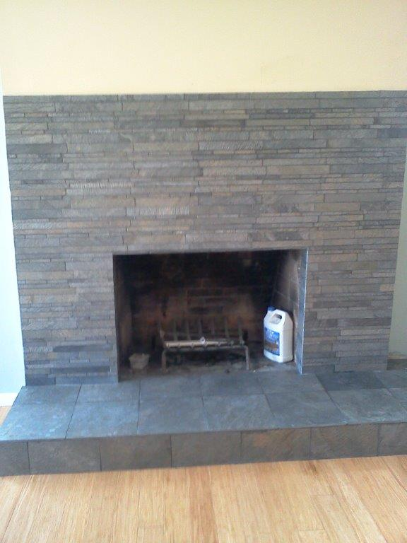 Stacked Stone Fireplace: AFTER