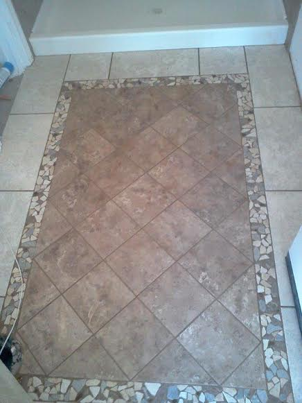 Tiled Shower with Coordinating Floor