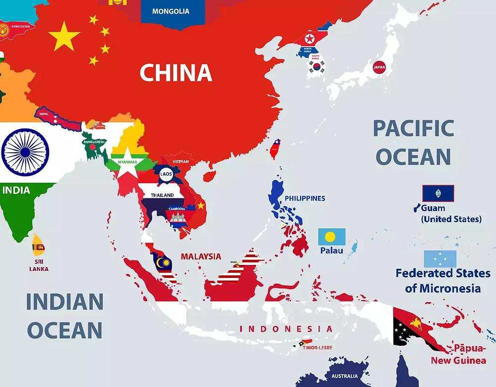 Vietnam located in the center of Aisa