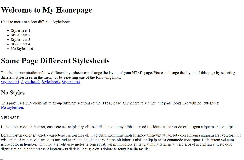 trang web No stylesheet và khi sử dụng ngôn ngữ CSS