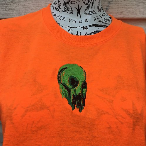 skary skull orange and green halloween forever tee