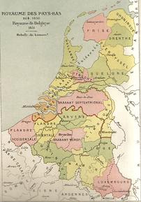 Carte des Pays-bas séparés par une frontière Nord-Sud datant de 1830.