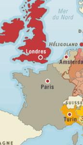 Carte de l'europe en 1830, réunissant le France, l'Angleterre et les Pays-bas.