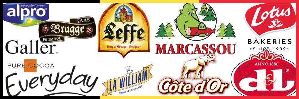 Les marques vendues sur Mange Belge ; Alpro, Everyday, Milka, La William, Brugges, Cote d'Or, Leffe, Lotus Marcassou, Galler, Devos Lemmens, ...