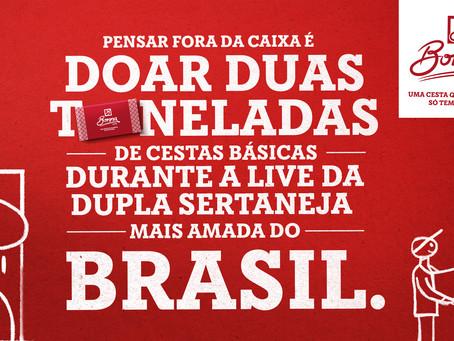 Bonna Cesta de Campinas doa duas toneladas de cestas básicas em live de Chitãozinho & Xororó.
