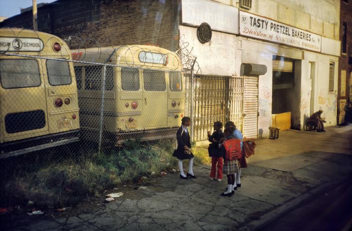 School Bus and Curbside Crushed Cars Bushwick, Brooklyn NY 1985
