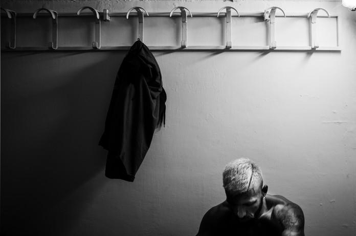 Armando Casamonica inside the locker room.